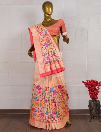 Peach color pure banarasi silk wedding saree