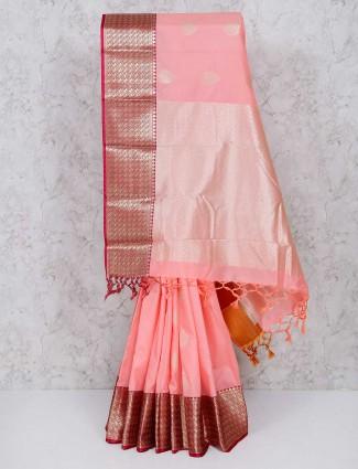 Peach color semi silk wedding wear saree