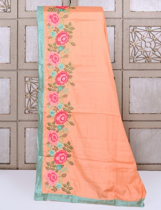 Peach color silk festivewear saree