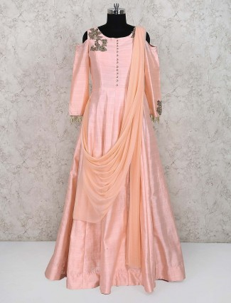 Peach color silk party wear gown