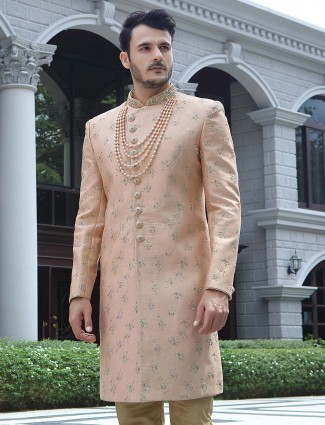 Peach color sober wedding wear silk sherwani