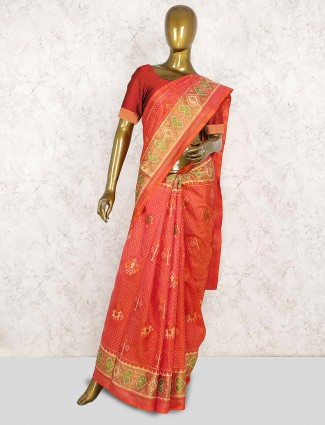 Peach color wedding wear patola silk