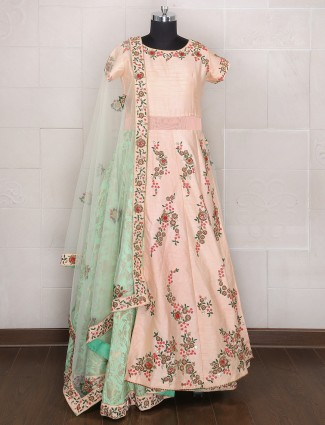Peach color wedding wear silk lehenga choli