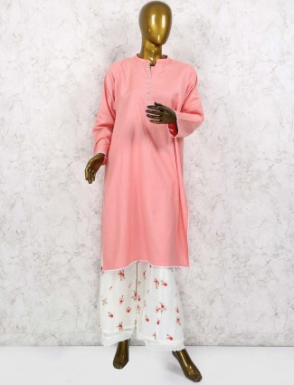 Peach colored cotton punjabi palazzo suit