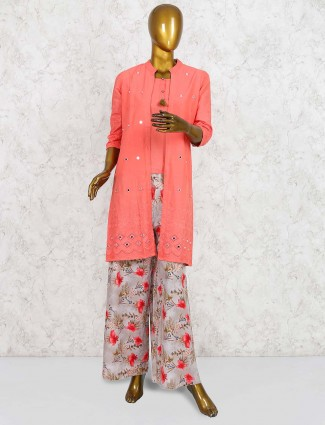Peach colored punjabi palazzo suit