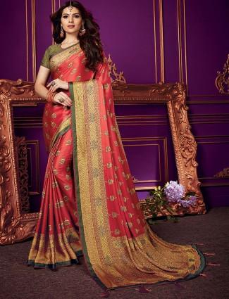 Peach colored semi silk festive wear saree