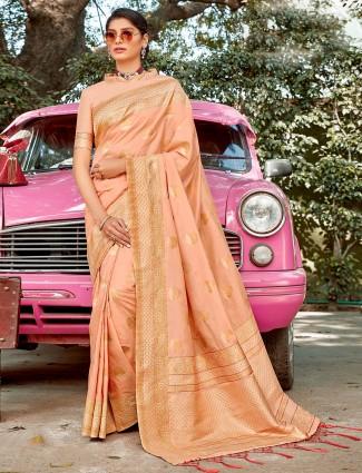 peach colored semi silk wedding wear saree