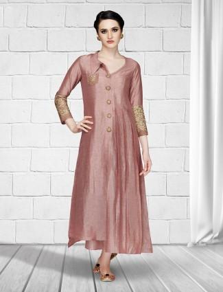 Peach colored silk salwar suit