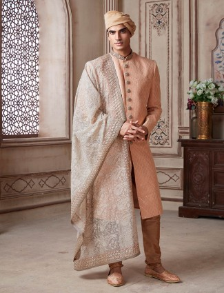 Peach colour sherwani for groom in terry rayon