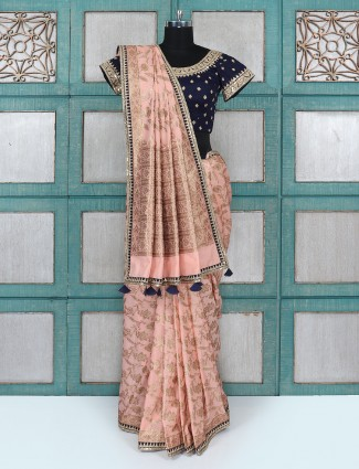 Peach coloured wedding wear silk saree