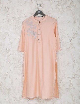 Peach cotton fabric chinese neck kurti