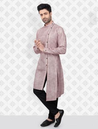 Violet cotton printed kurta suit