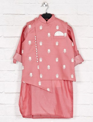 Peach cotton silk waistcoat with kurta