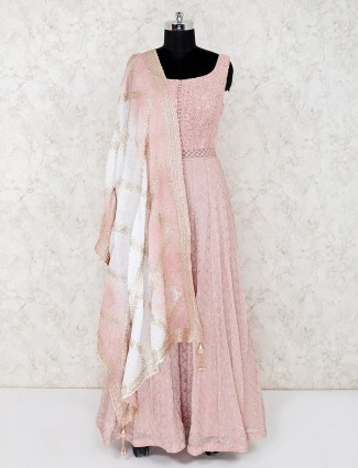 Peach cotton silk wedding wear anarkali suit