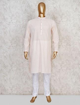 Peach cotton stand collar kurta suit
