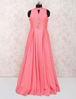 Bright pink designer cap style gown