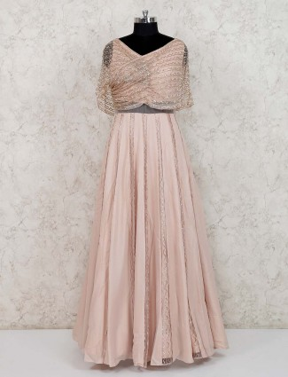 Peach designer georgette gown for wedding