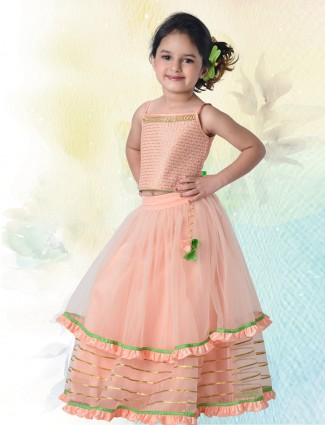 Peach designer net wedding lehenga choli