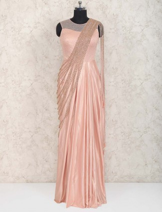 Peach designer wedding function gown