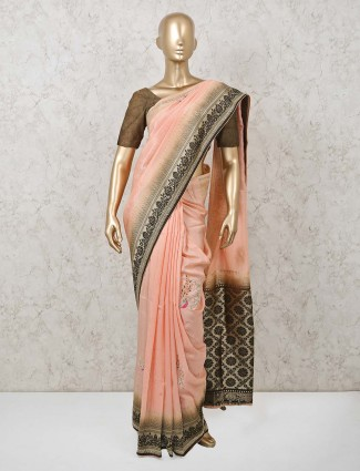 Peach double shaded saree for festive in muga silk