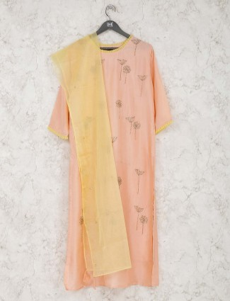 Peach festive cotton kurti tunic