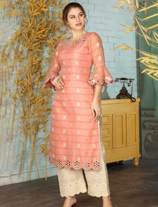 Peach festive get together cotton palazzo suit