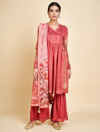 Peach festive wear designer sharara set