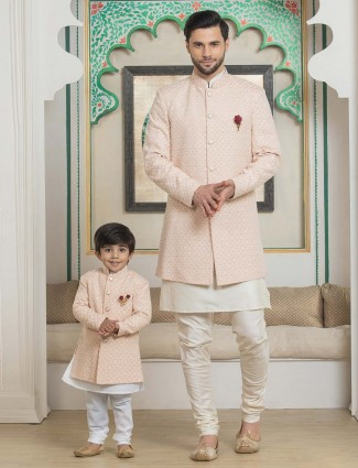 Peach georgette designer double layer father son indo western