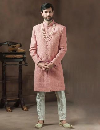 Peach georgette fabric designer groom sherwani