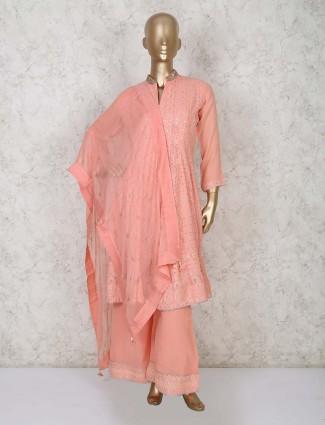 Peach georgette festive palazzo suit set