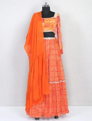 Peach georgette lehenga choli for wedding wear