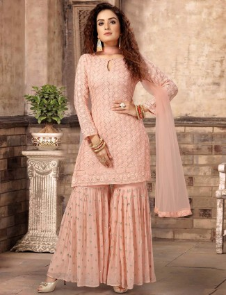 Peach georgette punjabi sharara suit