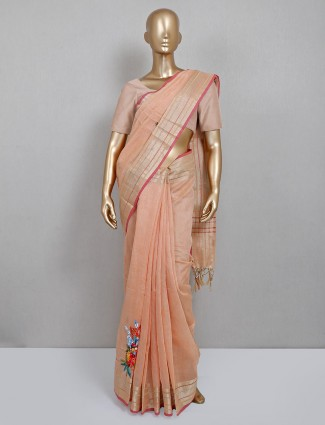 Peach handloom cotton saree for festive look