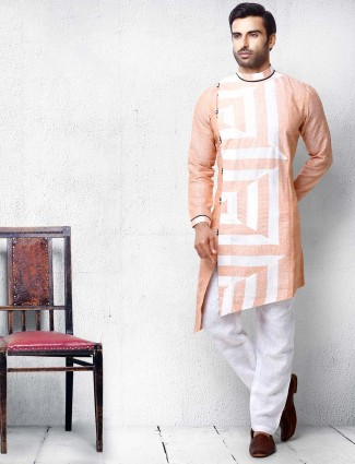 Peach hue cotton mens kurta suit