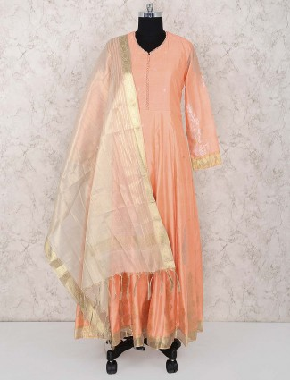 Peach hue cotton silk anarkali salwar suit