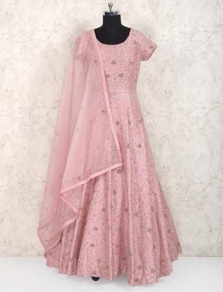 Peach hue cotton silk fabric festive wear anarkali suit