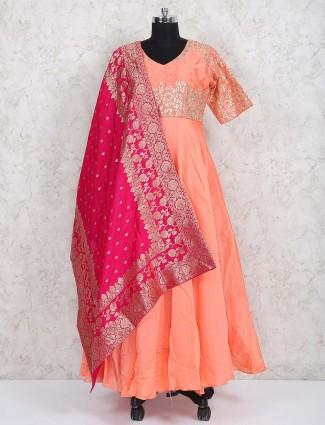 Peach hue cotton silk festive anarkali suit