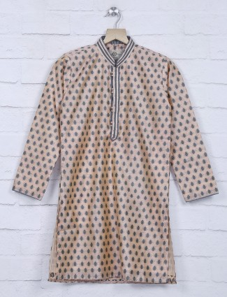 Peach hue cotton silk festive kurta suit