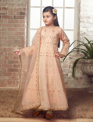Peach hue designer wedding wear anarkali suit