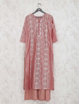 Peach hue festive wear cotton silk double layer kurti