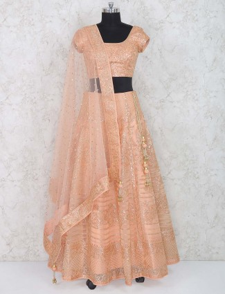 Peach hue georgette wedding lehenga choli