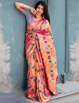 Peach hue gorgeous saree in kanjivaram silk