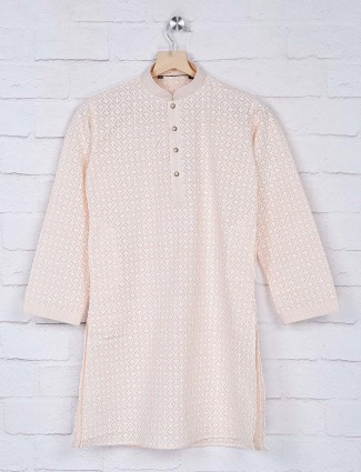 Peach hue lakhnavi thread kurta suit