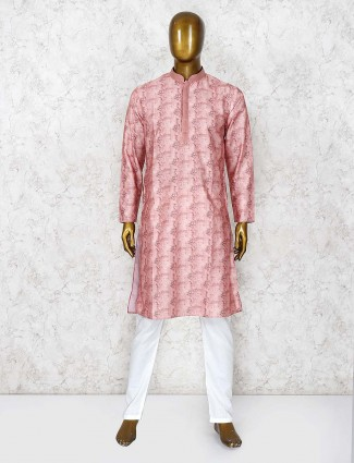 Peach hue printed cotton fabric kurta suit