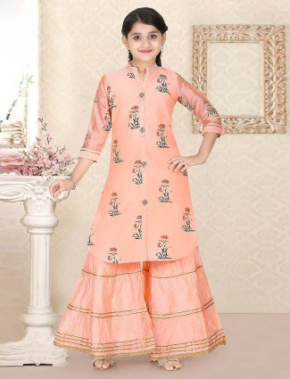 Peach hue punjabi sharara suit in cotton silk