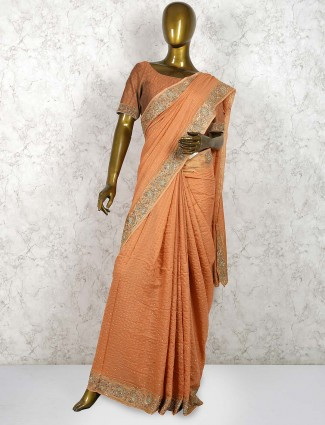 Peach hue pure silk designer saree
