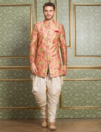Peach hue wedding wear indo western