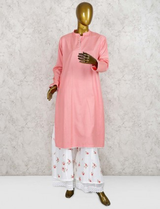 Peach hued cotton fabric punjabi palazzo suit