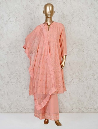Peach lucknowi masakali palazzo suit for festivals