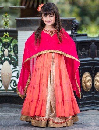 Peach net festive double layer lehenga suit